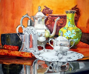 2014 still life where I worked with an old them and recreated the painting after years more painting experience.