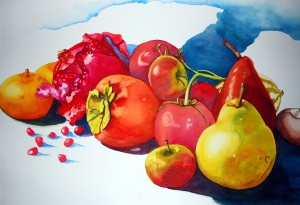 My latest painting, Juicy, inspired by fall fruits. More on the process of creation coming soon.